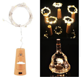 Wholesale Valentine Craft Wholesale - 2m 20-LED Copper Wire String Light with Bottle Stopper for Glass Craft Bottle Fairy Valentines Wedding christmas Decoration Lamp Party