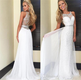 Wholesale Bud Silk Dress - Formal Evening Dresses 2017 New Round Neck White Sheathed Dazzling Crystal Beaded Bud Silk Tulle Prom Dress Sexy Halter Graduation Gowns