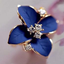 Wholesale Earring Piercing Stud - 2016 new elegant noble blue flower ladies gold plated rhinestone earrings piercing Brinco women free shipping E5