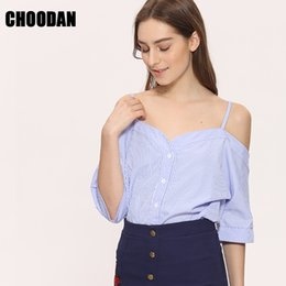 Wholesale Summer Korean Blouse Long Sleeve - Off Shoulder Blouse Shirt Women Summer New Fashion Korean Style 2017 Sweet Slash Neck Tops Stripe Sexy Shirts Ladies Clothing