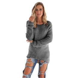 Wholesale Wholesale Winter Sweaters For Women - Wholesale-High Quality Sweater Women Winter Pullover Solid Knitted Sweater Top for Women Autumn Female Oversized Sweater Sueter Oc29
