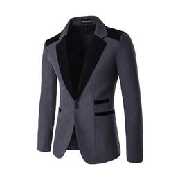 Wholesale Mens Hooded Blazer Jacket - Wholesale- 2016 Fashion Party Mens slim fit blazer Suit Jacket black Male blazers Mens New Autumn coat Wedding dress Blazer