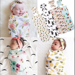 Wholesale Infant Baby Swaddle new Baby Boys Girls Bear Blanket Headband Newborn Baby Soft Cotton Cocoon Sleep Sack Two Piece Set Sleeping Bags