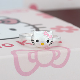 Wholesale New Indian Cute Girls - Hot Sale 925 Sterling Silver Hello Kitty Ring Cute Jewelry Cat Rings For Women Girl Gifts Adjustable Party Anel Wedding Ring New