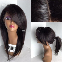 Wholesale Silky Top Full Lace Wigs - Silky Straight 4x4 Silk Base Lace Front Wigs With Side Bangs Malaysian Human Hair Glueless Silk Top Full Lace Wig With Baby Hair