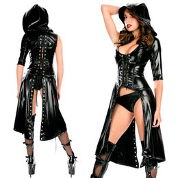 Wholesale Gothic Dance Costumes - Wholesale- Women Sexy Nightclub Punk Gothic Jumpsuit Fetish Dance Faux Latex Catsuit Erotic hooded Leather Bodysuit Fancy DS Costume