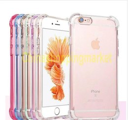 Wholesale Transparent Mobile Phone Cases - For iPhone 7 6 6S Plus Case Transparent Air Cushion Shockproof TPU Mobile Phone Cases For Samsung S8 Plus Back Cover