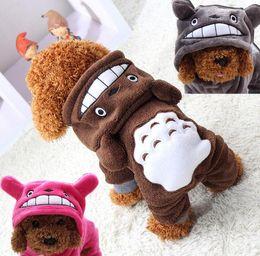 Wholesale Totoro Halloween Costume - Cute Totoro Fleece Pet Cat Clothing Dog Costume Apparel Dog Jumpsuit Pants Puppy Winter Coat Jacket Hoodies Soft Warm 1PC