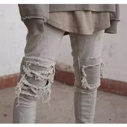 Wholesale Wholesale Hiphop Pants - Wholesale- 2017New Mens Ripped Jeans Cotton Black Gray Slim Fit Motorcycle Jeans Men Vintage Distressed Denim Jeans Hiphop Streetwear Pants