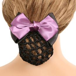 Nuovo elegante tinta unita raso arco Barrette Lady Clip di capelli copertina Bowknot Bun Snood accessori per capelli donna da