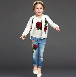 Wholesale Long Sleeve Shirts For Kids - For Big Girl Spring Autumn Girls 3pcs Rose Clothes Set Short Sleeve T-shirt + Coat + Jeans Pants Kids Set Children Outfits W037