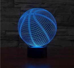 Wholesale Home Button Cartoon - Wholesale- 3D Basketball Shape LED Art Sculpture Night Lights Desk Lamp 3D Visualization Home Docoration bulb button swith usb 3d lamp
