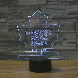 Wholesale Color Changing Fan - Wholesale- 3D Table Lamp Ice Hockey Team Logo Toronto Maple Leafs Color Changing LED Night Light Decor Bedroom Lighting Sport NHL Fans