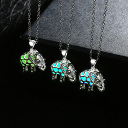 Wholesale Statement Chains - Statement necklaces & pendants silver necklace for women jewelry for girls glow in the dark Elephant with gift boxNK-61