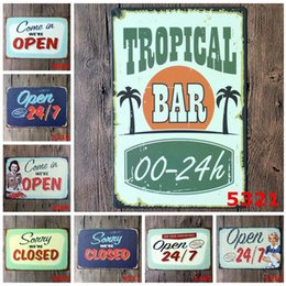 Wholesale Popular Poster - Vintage 20*30cm Europe Iron Paintings Welcome Closing Card Tin Poster For Bar BBQ Shop Store Decoration Metal Tin Sign Popular