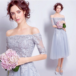 Wholesale Embroidered Tea Length Wedding Dress - 2017 New Style Cheap Real Image Sweetheart Lace Bateau Short Sleeves Wedding Dress Sexy Embroidered Formal Evening Dresses Prom Dresses