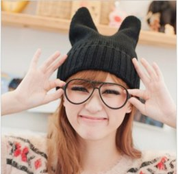 dc3fa21f5f910 2018 fashion styling cat ears warm hat candy color solid all-match Korean knitted  hat cap spring and winter street fashion lovers go shoppin