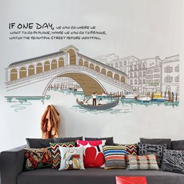 Wholesale Country Landscape Paintings - Creative Elegant Wall Stickers City Scenery Living Room Bedroom, Wall Decorative Painting Self-adhesive Waterproof PVC Sticker YCT-AM9211