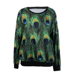 Wholesale Shirts Stones Women - The new women's sweatshirt 3D printing candy stone peacock spot cream sweater t-shirt design loose woman hoodies Multi colors(size M)