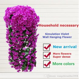 Wholesale Hanging Flowers For Parties - Artificial flowers Simulation Hydrangea Violet hanging flowers Cane wisteria series For Wedding decoration Wall decoration Party Free Ship