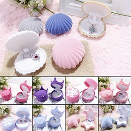 Wholesale Locket Rings Wholesale - Cute Candy Color Wedding Elegant Shell Shape Velvet Jewelry Rings Box Pendant Locket Container Case New