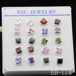 Wholesale Mixed Ear Stud - 10pars Luxury Best Sale 925 Sterling Silver Square Shape Zircon Earrings for women Mixed Stud Earrings Charms Ear Jewelry