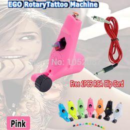 Wholesale Tattoo S Guns - Wholesale- 2015 HOT Ego Tattoo Machine Rotary Tattoo Motor Machine Gun L &S for Tattoo Kits pink 1pcs RCA Clip cord Free Shipping