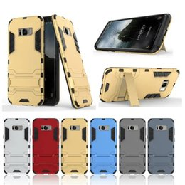 Wholesale Silicone Iron Cover - For iphone 8 Iron Man Armor Hybrid Hard Case 2 in 1 PC+TPU Dual Color Ironman Stand Skin Holder Cover for iphone 7 6S Samsung S8 plus S7