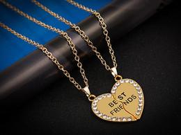 Wholesale Rose Gold Necklace Set Heart - Split Valentine Heart Rhinestone Best Friends Engraved Pendant Friendship Necklace Set of 2