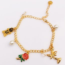 Wholesale Rose Golden Bracelet - Beauty and the Beast Inspired Rose Charm Bracelets Bangles Golden Color Beauty Beast Belle Bangles flower kids Women Christmas Gift