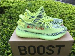 Wholesale Fluorescent Shoe Laces - Boost 350 V2 B37572 Semi Frozen Yellow Fluorescent Green Mens Running Shoes Zebra B37571 Blue Tint Sneakers