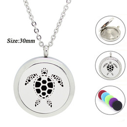 Wholesale Turtle Necklace Rhinestones - New Design! Sea Turtle shape 30mm Stainless Steel Round Lockets Aromatherapy Essential Oil Diffuser Perfume Locket Jewelry