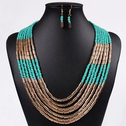 Wholesale Hd Girls - Fashion African Beads Jewelry Set Multilayer Weave Bohemian Resin Bead Nigerian Necklace Earring Set For Women HD-005