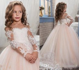 Wholesale Ivory Baby Girl Wedding Dress - 2017 Spring Flower Girl Dresses Sweety Jewel Lace Net Baby Girl Birthday Party Christmas Communion Dresses Children Girl Party Dresses