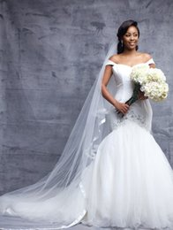Wholesale Low Price Sexy Wedding Dresses - Custom Made Mermaid Cap Sleeve White Tulle Sexy Wedding Dresses With Beaded Crystal Low Price Wedding Bridal Gowns Lace Up