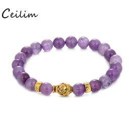 Wholesale Amethyst Buddha - 8 mm Round Beads Bracelet Gold Buddha Natural Amethysts Purple Quartz Stone Bracelet for Women Stretch Energy Bracelet 2017 New
