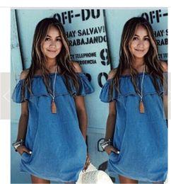 Wholesale woman shorts jeans - Summer Womens Dresses Boho Jeans Mini Dress Strapless Casual Beach Shorts Sun Dresses imitation jean sleeveless boat neck Casual Dresses