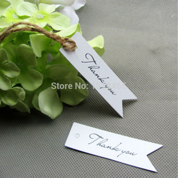 Wholesale Thanks Wedding Card - Wholesale- 50pcs White Thank you Card Paper With Jute Rope For Gift Tags Wedding Party Favor