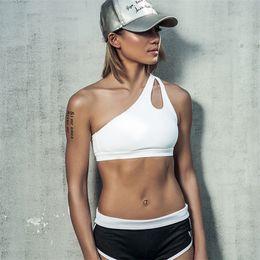 Wholesale Oblique Shoulder Strap - Women's High Impact Personality Oblique Shoulder Strap Sports Bra Women Running Fitness Bra Top Clothes 2501099