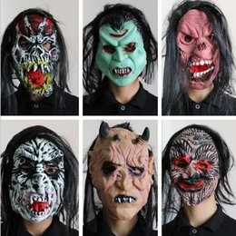 Wholesale Latex Scream Mask - Horrific Halloween Latex Mask Full Face Adult Non-toxic Breathable Scary Horror Masquerade Fancy Dress Cosplay Make Scream Masks