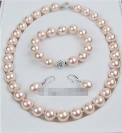 Wholesale Southsea Pearls Earrings - natural southsea shell Orb pearl 12 MM pink shell necklace bracelet earring