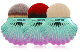 Wholesale Rainbow Fan Wholesale - Newest 1pcs Shell Brush Big Fan Shape Powder Foundation Brush Cute Make Up Cosmetics Rainbow Conch Face Contour Makeup Brushes