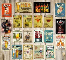 Wholesale Sign Stickers - Wall Poster 20*30CM Metal Stickers Tin Sign Pub Club Gallery Poster tips Vintage Plaque Decor Plate New Kinds of Beer Theme