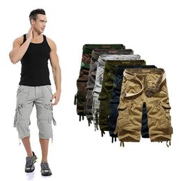 Wholesale Fly Shorts - Hot Fashion Summer Calf-length Men Shorts Cotton Casual Mens Cargo Shorts plus size 29-40 free shipping