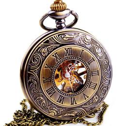 Wholesale Men Skeleton Pocket Watch - Wholesale- WOONUN Top Brand Luxury Steampunk Skeleton Mechanical Pocket Watch For Men Fashion Mechanical Clock Watch Roman Numeral Dial