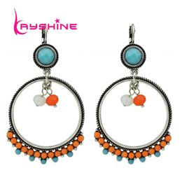 Wholesale Beads For Hoop Earrings - Indian Jewelry Bohemian Style Antique Silver Color Beads Geometric Circle Hoop Earrings for Women Jewelry