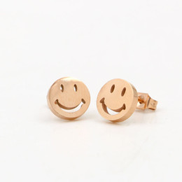 Wholesale Silver Smile Charms - New Arrival Top Quality 316L Titanium steel Stud Earring Luxury Hollow Smile Face Women Charm Earring Fashion Jewelry PS4131