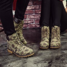 Wholesale Camouflage Women Boots - Wholesale-Men & Women Camouflage Ankle Boots Shoes Canvas Men And Women Army Boots Fashion Martin Boots Casual Boats New 2016