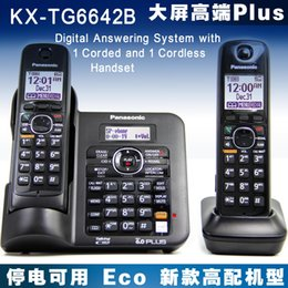 Wholesale Telephones Sets - KX-TG6641B DECT 6.0 Expandable Digital Cordless Phone Answering Machine System with Wireless Home Telephone set