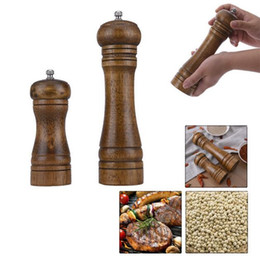 Wholesale Pepper Wood - Salt And Pepper Grinder Hand Movement Oak Wood Pepper Mill With Ceramic Grinding Cord Kitchen cooking tools 5 8 inch G437